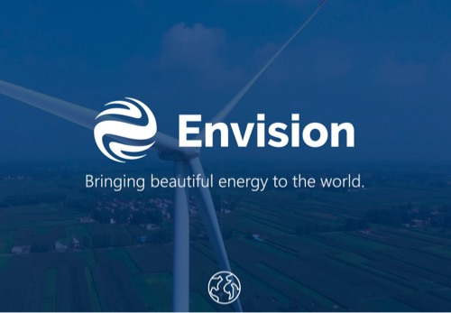 Image of a wind turbine with the Envision logo