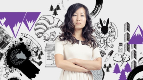 Woman with black and purple images in background