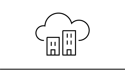 Cloud icon with two buildings inside
