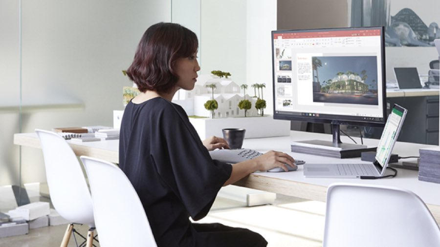 Person sitting working in a modern office