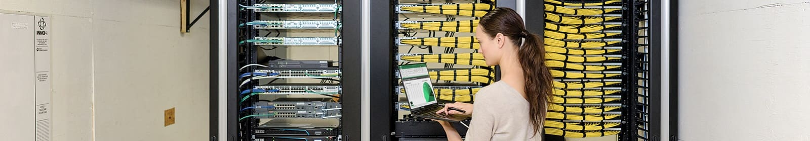 A female IT employee analyzes data in front of a server