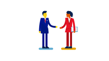 Illustration of two people shaking hands