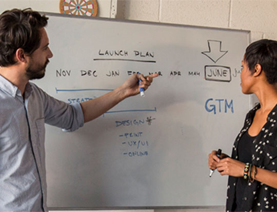 Two people working at a white board
