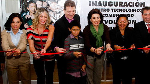 Lorena Martine, Mayor of Aguascalientes, Mexico, attends a ribbon cutting ceremony announcing the opening of a community center focused on technology.