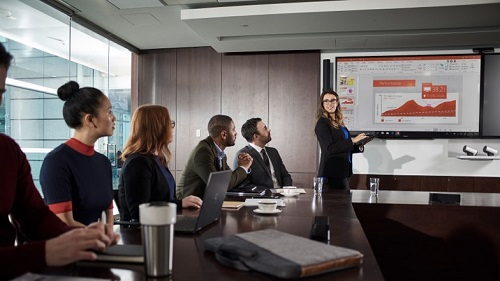 Four people in a meeting room