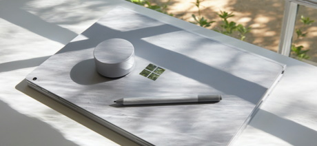 Surface laptop on table in the sun