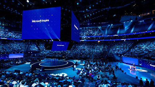 Day one Corenote stage from Microsoft Inspire 2019