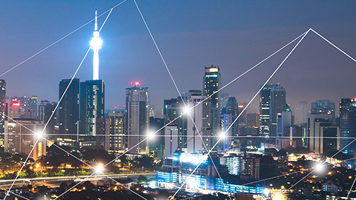 City skyline with connecting lines and points