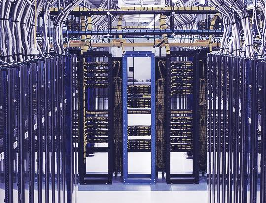 Data servers in a large server room