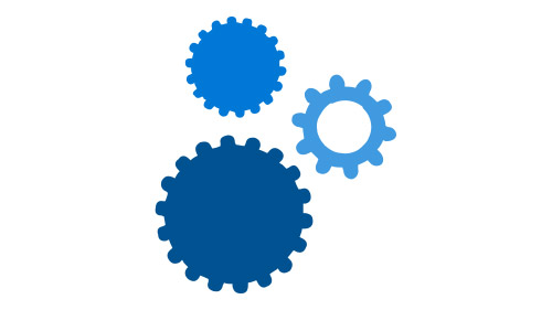 Animated blue cogs