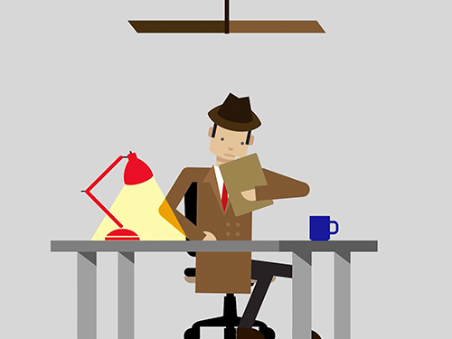 Cartoon man sitting at a desk.
