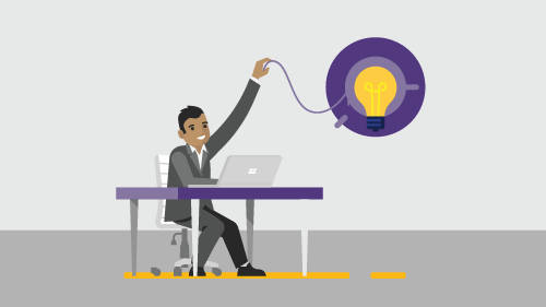 Illustration of man working at desk while turning on lightbulb