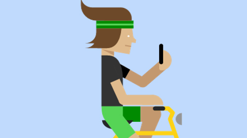 Illustrated person riding a bike