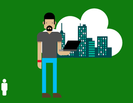 Illustrated man with city scape in cloud