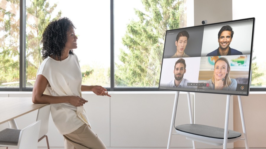 People having Teams meeting on Surface Hub