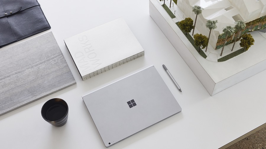 Microsoft laptop on desk
