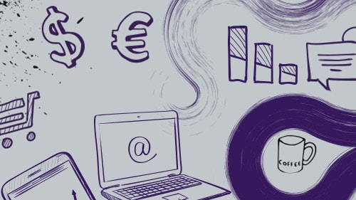 Illustration on computers and currency symbols.