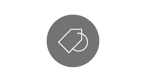Shopping tag icon on silver