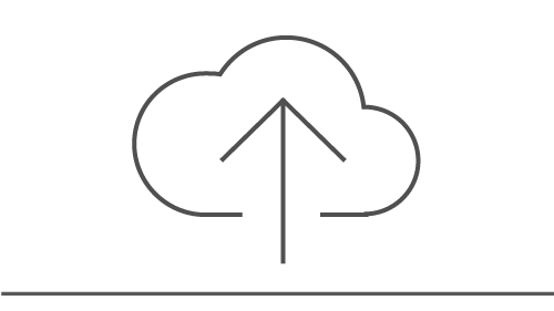 Icon of a cloud with an upward arrow entering it