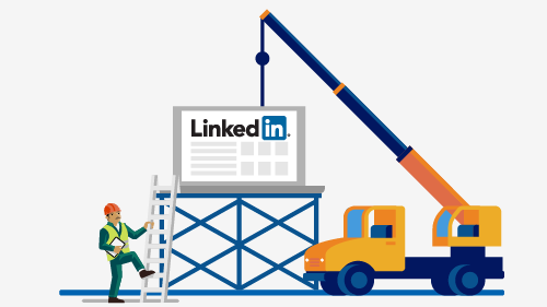 Cartoon image of a LinkedIn sign being placed