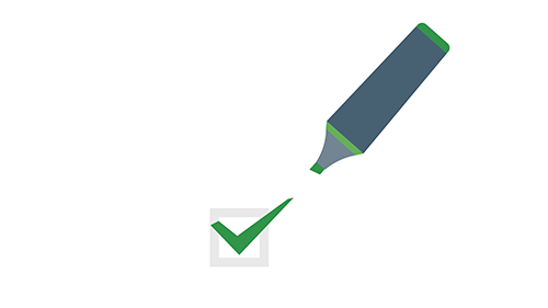 Cartoon image of a checkmark and a pen