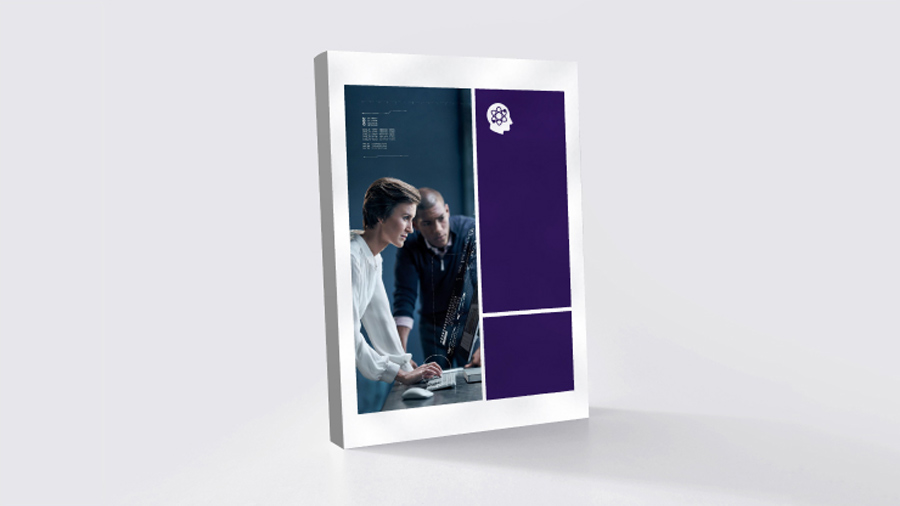 Purple and blue textbook with a man and woman