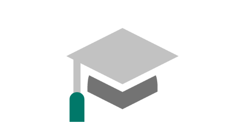 A simple illustration of a graduate cap with tassel