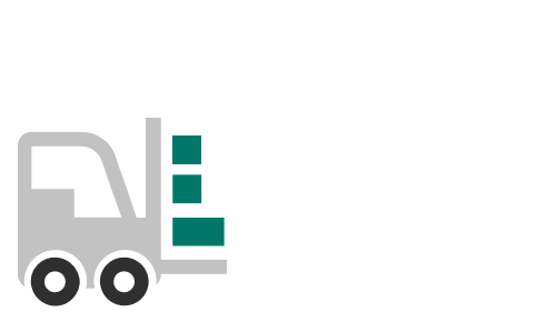 Illustration of a forklift carrying building blocks