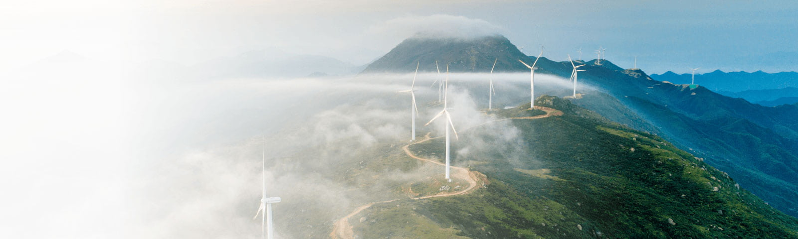 Mountain landscape with wind turbines
