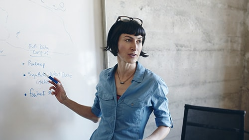 Image of a woman pointing to a white board