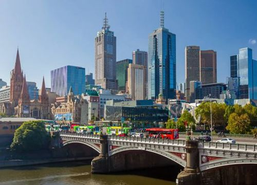 City Skyline with cars over