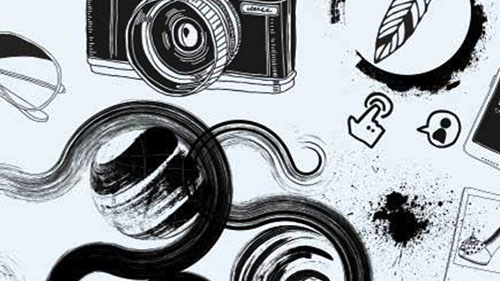 Illustration with black swirls and camera and feather