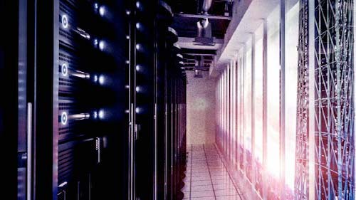 Image of a server room corridor