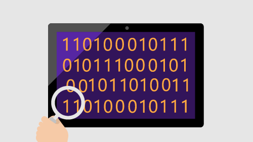 Illustration of binary code on tablet