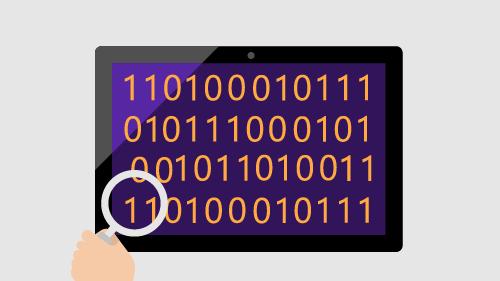 Illustration of binary on tablet