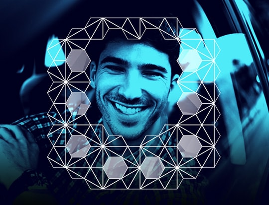 Geometric pattern around driver's face