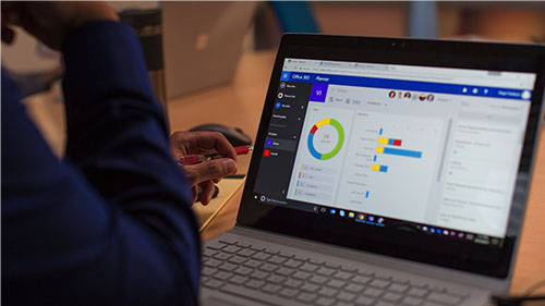 Surface screen with graphs and charts