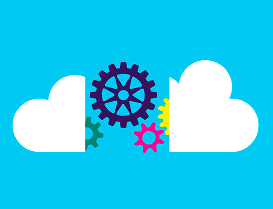 Illustration of cloud separated by cogs and gears