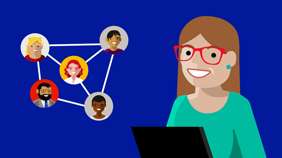 Illustration of woman on laptop and network of people