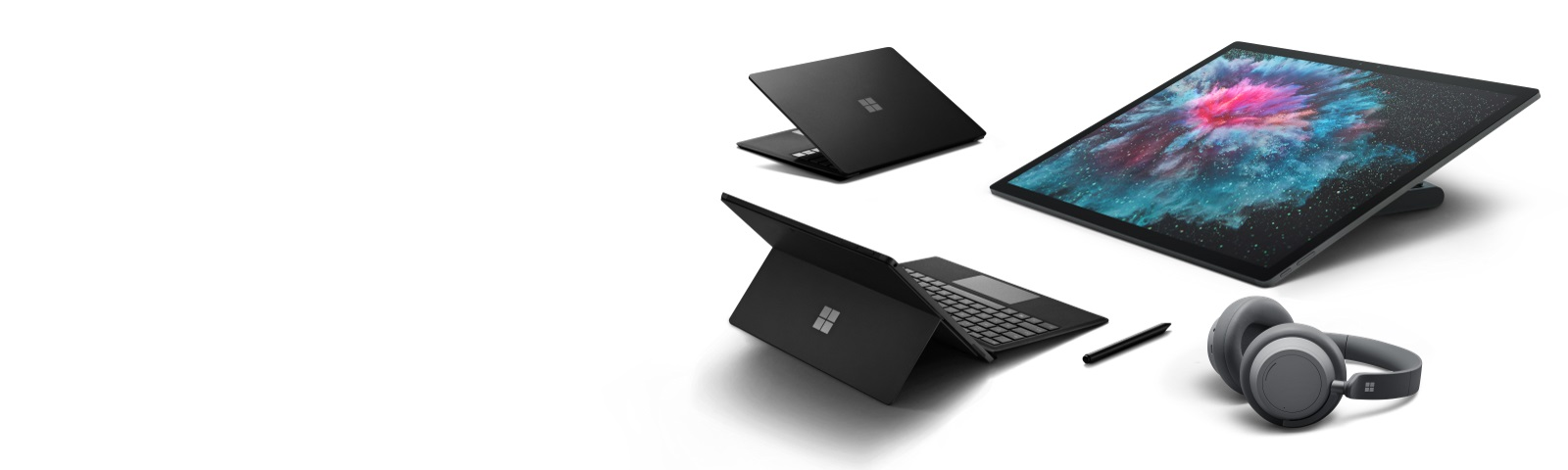 Surface devices on white background