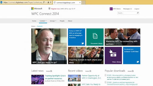 Microsoft WPC Connect 2014 homepage, content section selected