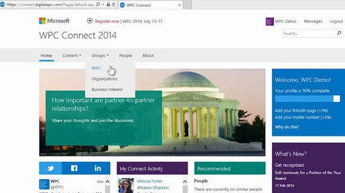 Microsoft WPC Connect 2014 homepage, group section selected