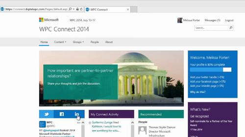 Microsoft WPC Connect 2014 homepage
