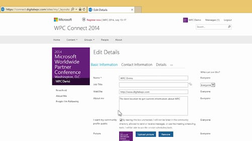Microsoft WPC Connect 2014 homepage, profile section selected