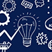 Dark blue icon with light bulb and cogs