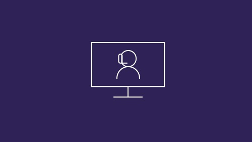 Person with headphones on monitor
