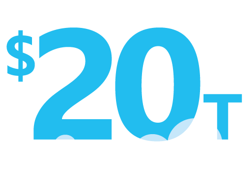 Illustration of number $20 trillion with cloud