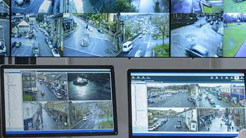 Image of security monitors