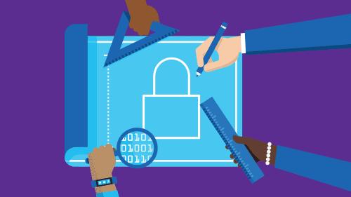 Illustration of multiple hands using tools on blueprint of lock