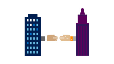 Illustration of two buildings joined by hands
